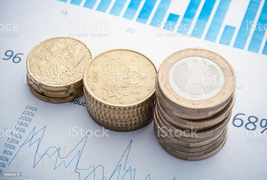 Coins, Savings, Chart Analyze stock photo