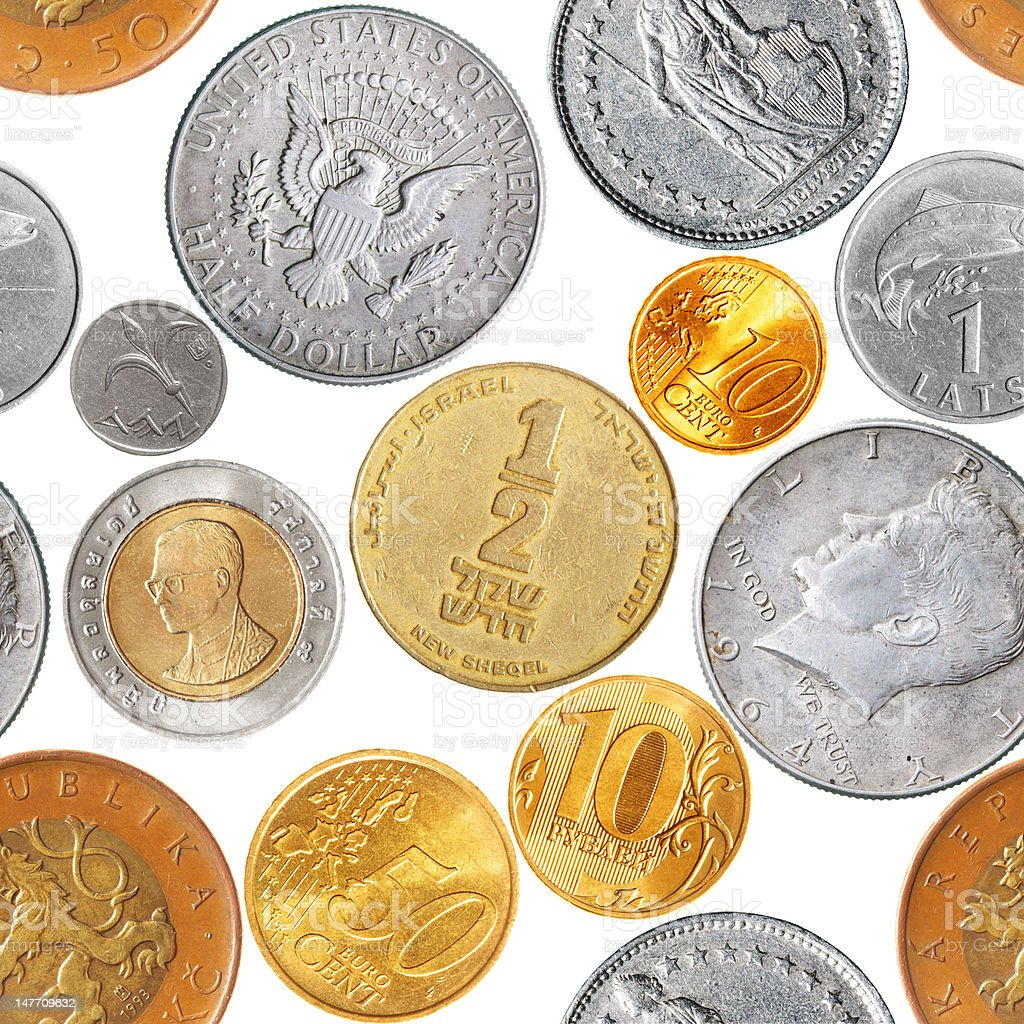 Coins seamless pattern stock photo