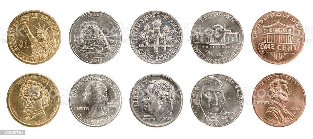 US coins set stock photo