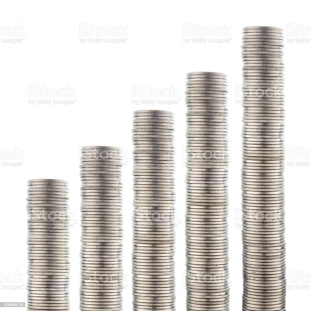 coins stacks isolated on white stock photo