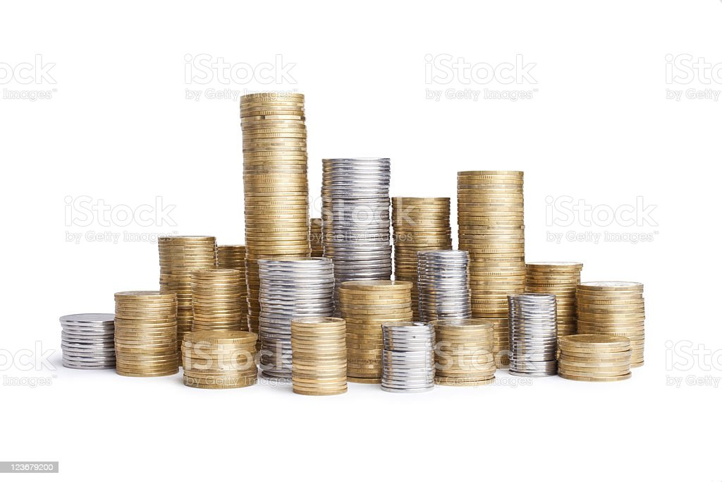 coins stacks stock photo