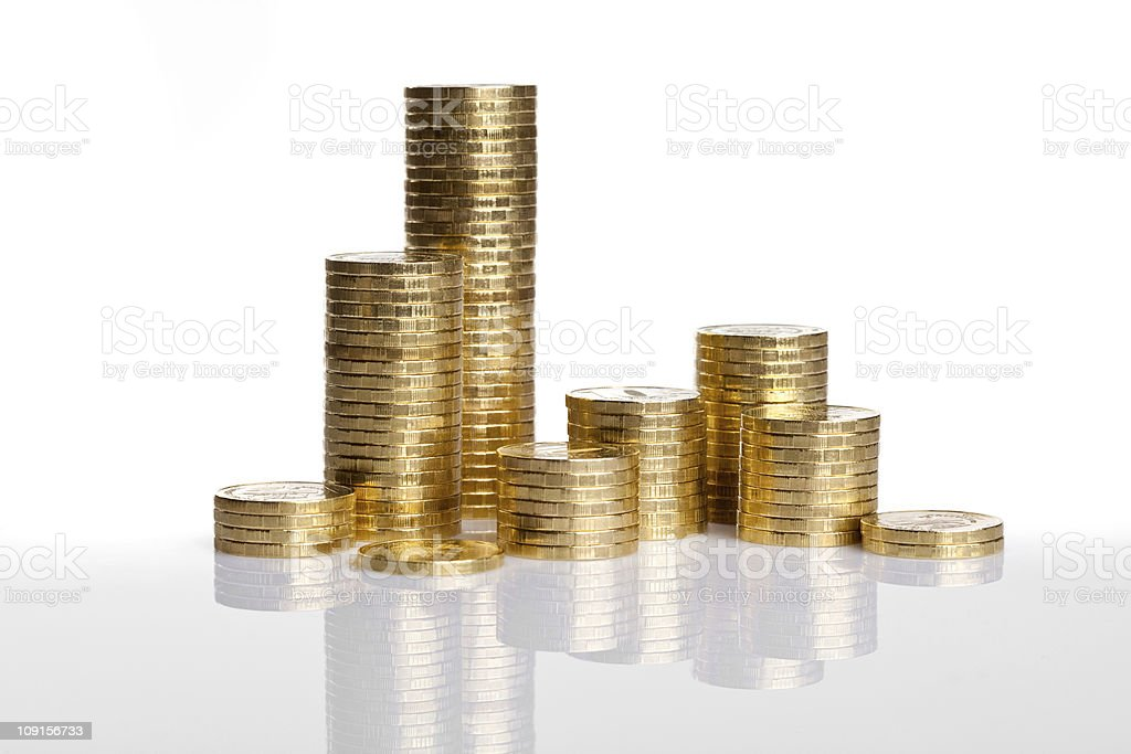 coins town on white background royalty-free stock photo