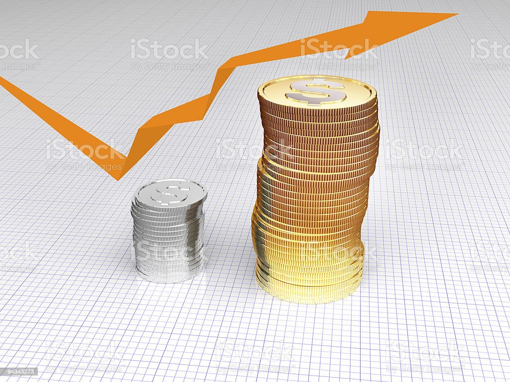 coins with arrow royalty-free stock photo