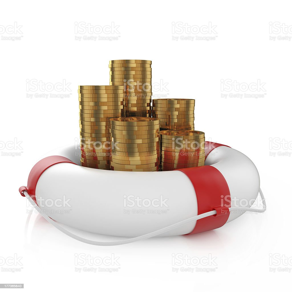 Coins with lifebuoy royalty-free stock photo