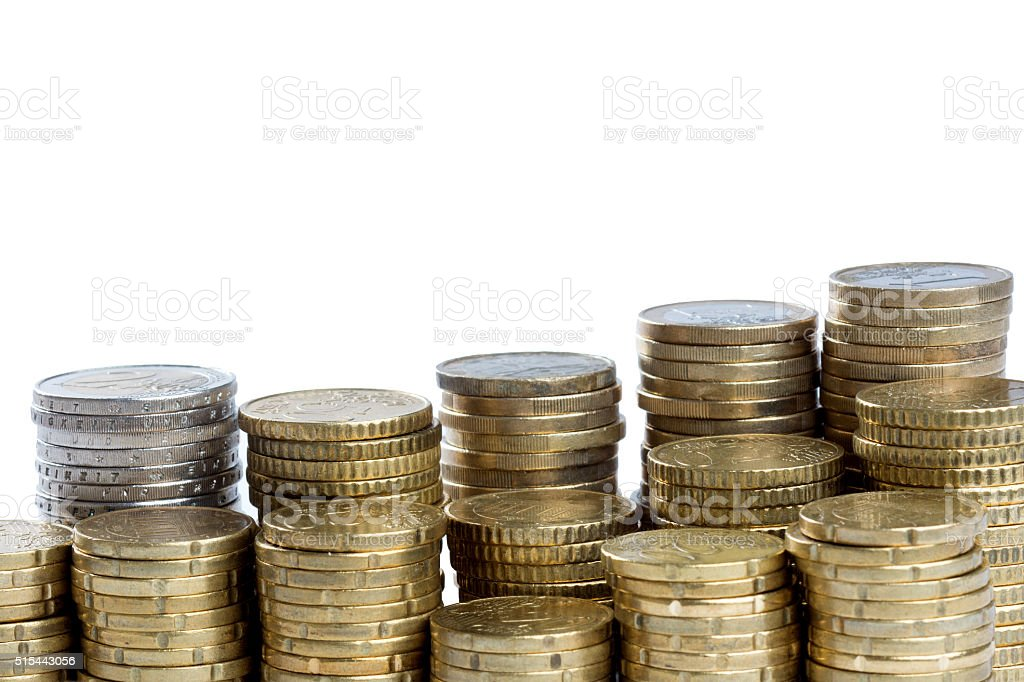 Coins with space for headlines stock photo