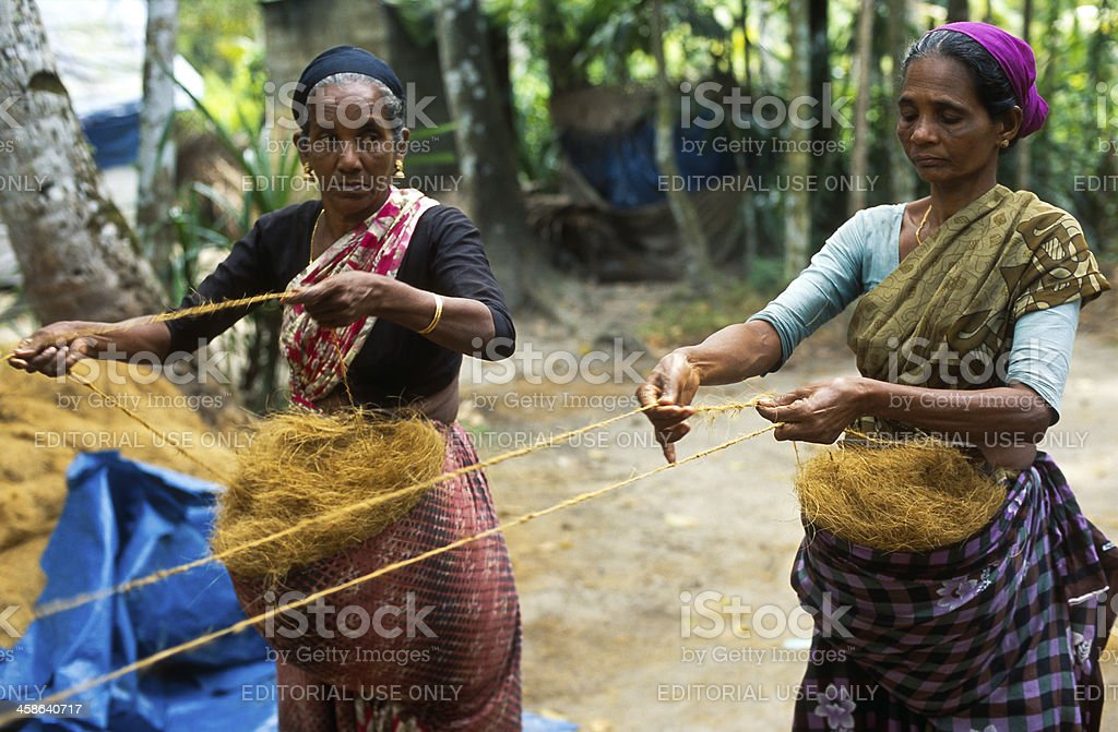 Coir rope making royalty-free stock photo