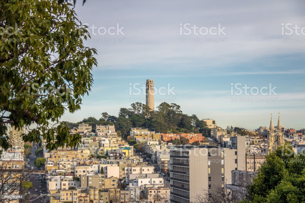 Coit Tower and Telegraph Hill -  San Francisco, California, USA stock photo
