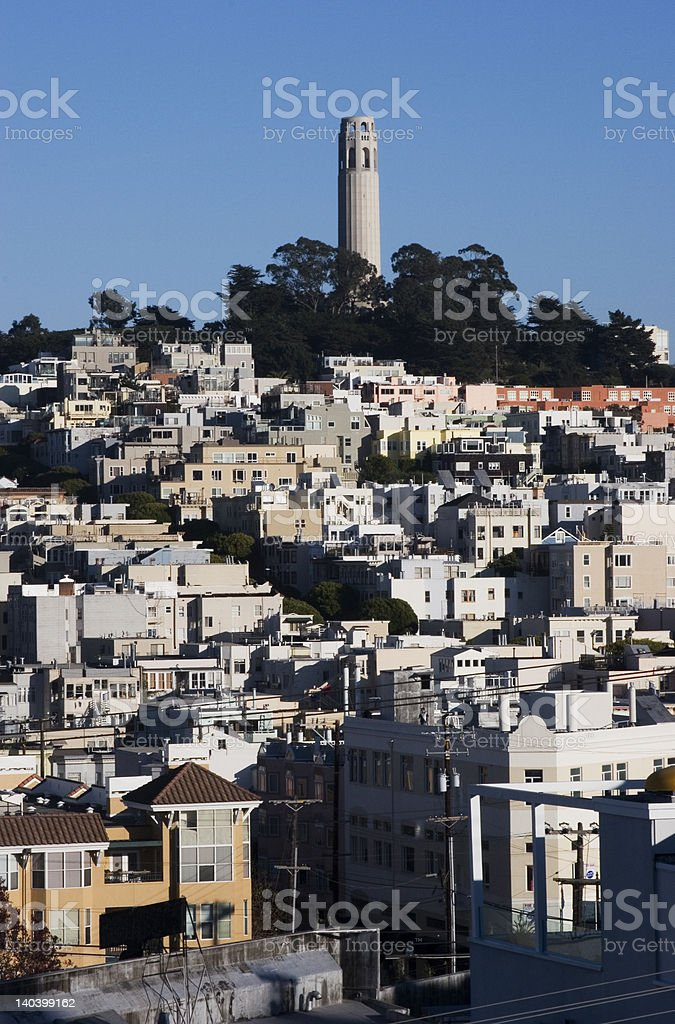 Coit Tower and Telegraph Hill, San Francisco stock photo