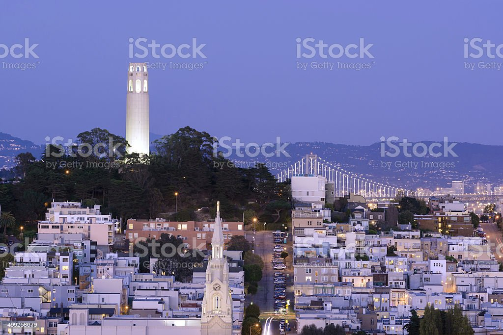 Coit Tower at night in San Francisco, CA stock photo