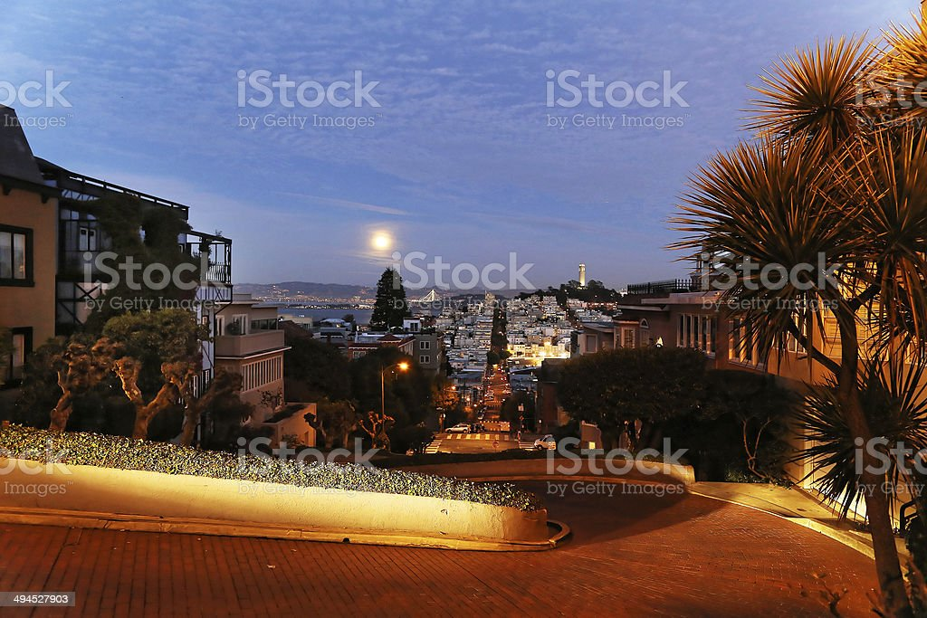 Coit tower at night royalty-free stock photo