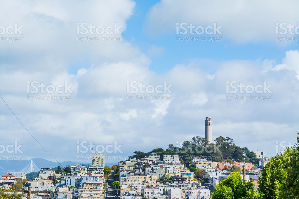 Coit Tower in Telegraph Hill stock photo