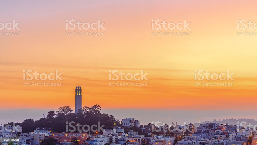 Coit Tower of San Francisco Downtown at Sunrise stock photo