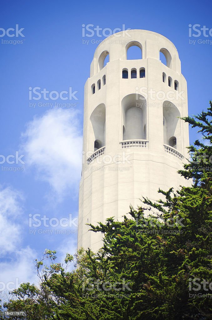 Coit Tower on Telegraph Hill in San Francisco, CA stock photo