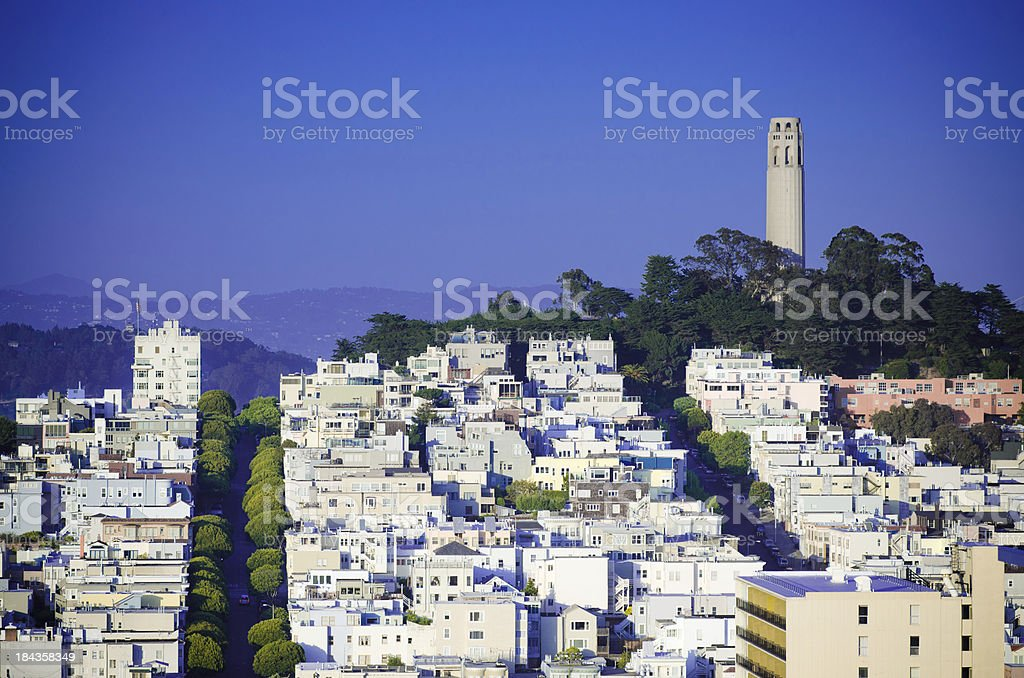 Coit Tower on Telegraph Hill in San Francisco, CA royalty-free stock photo
