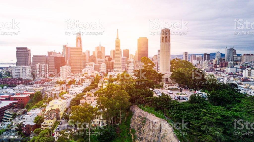Coit Tower Skyline stock photo