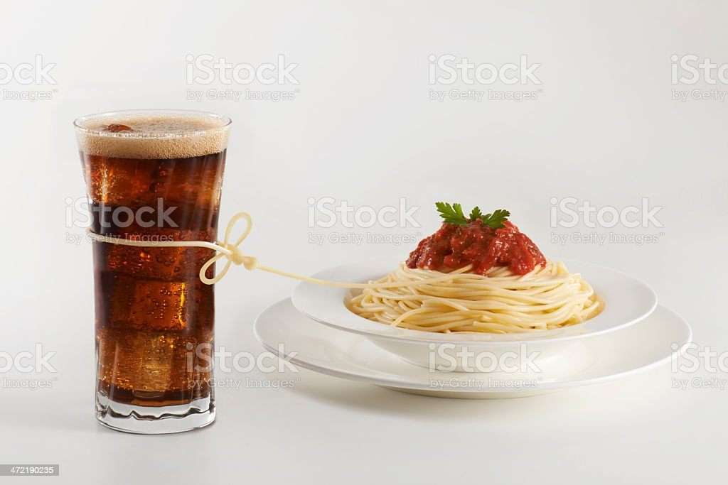 coke and pasta stock photo
