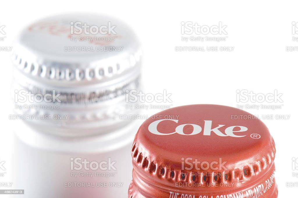 Coke vs Diet Coca-Cola | Favoring Regular Soda royalty-free stock photo