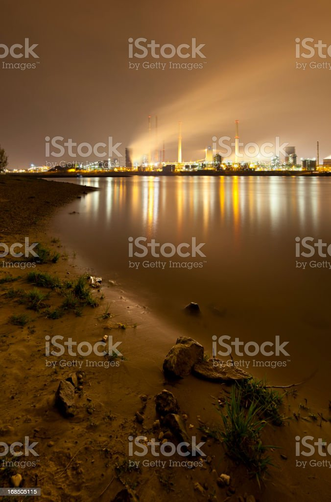 Coking Plant By River At Night royalty-free stock photo