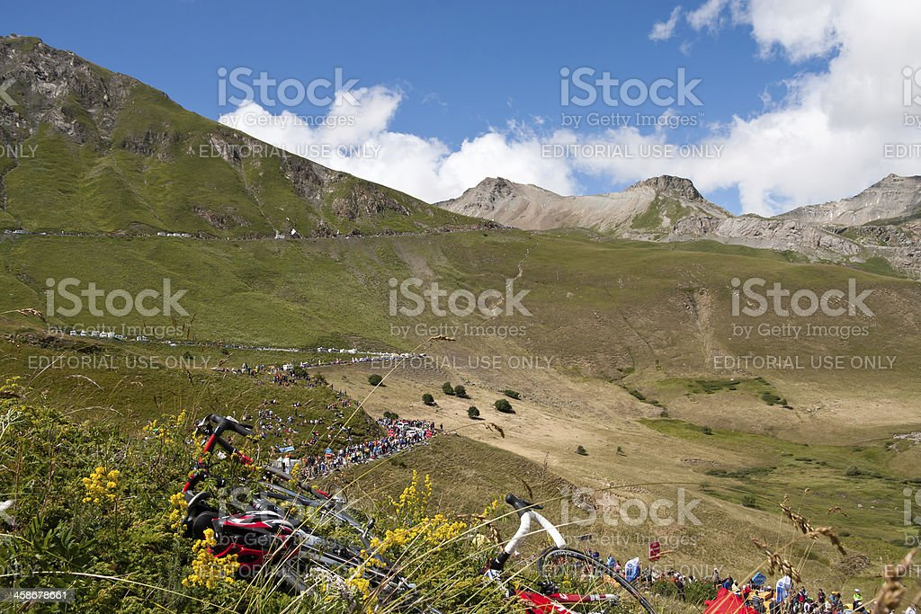Col du Galibier during the 2011 Tour de France Stage royalty-free stock photo