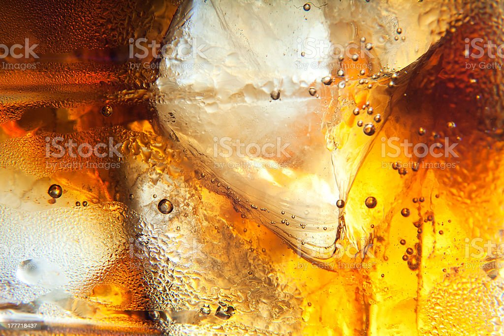 Cola background with ice royalty-free stock photo