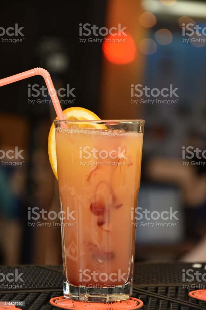 cola cocktail with peach  and orange stock photo