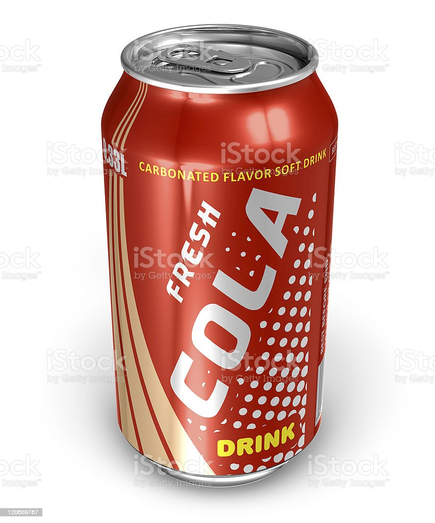 Cola drink in metal can stock photo