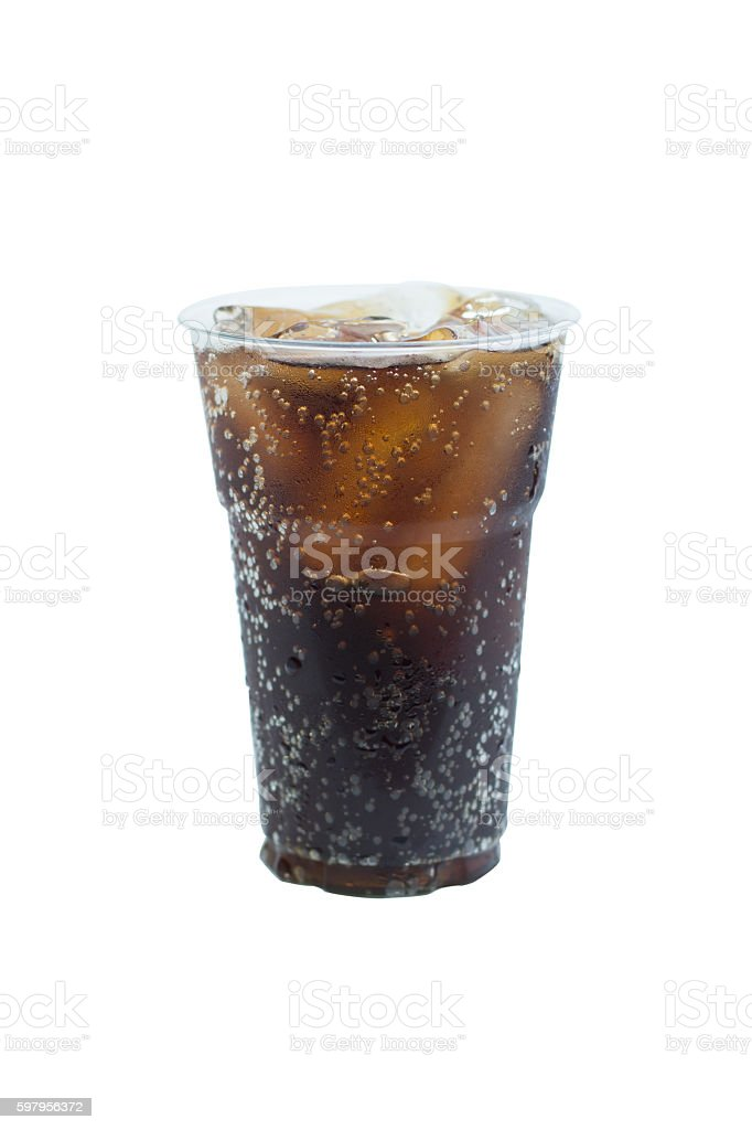 cola drink in plastic glass with ice isolated on white stock photo