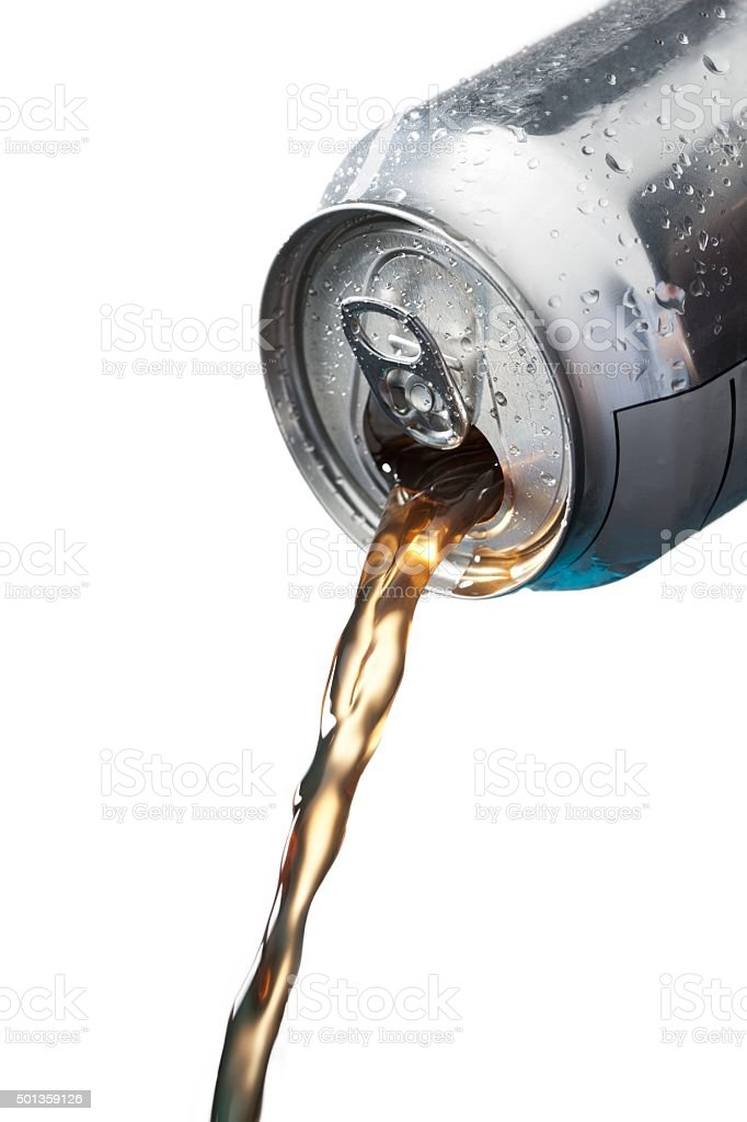 cola falling out of silver stock photo