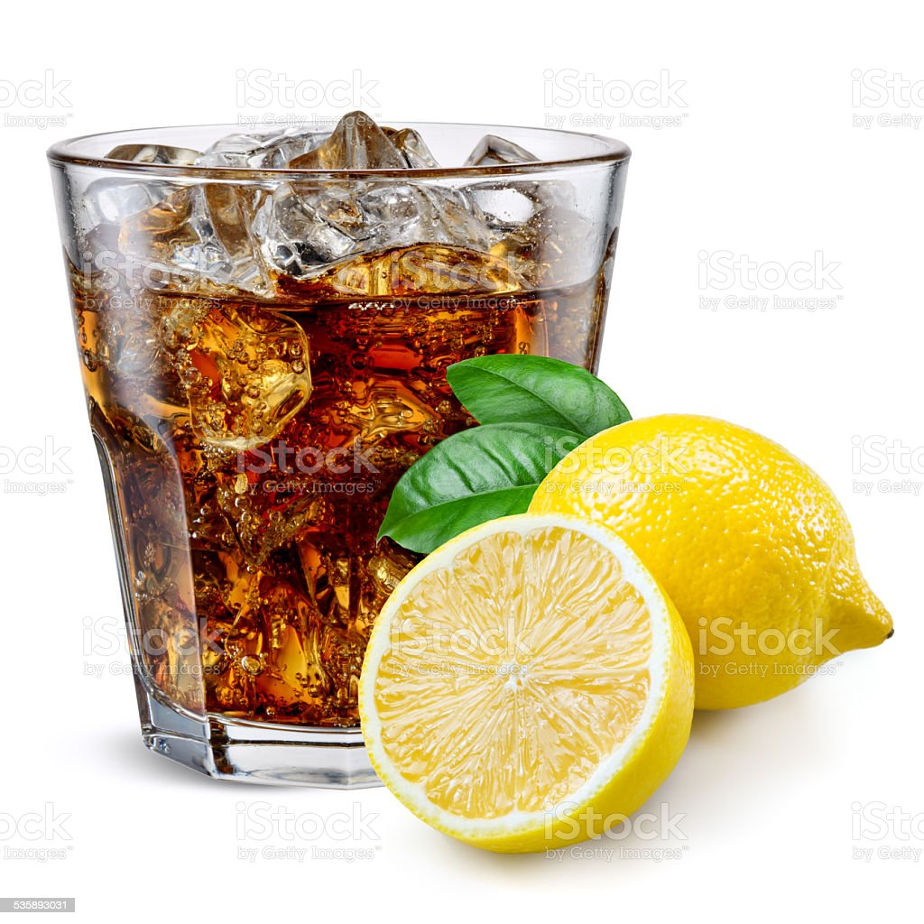 Cola glass with lemon isolated on white. stock photo