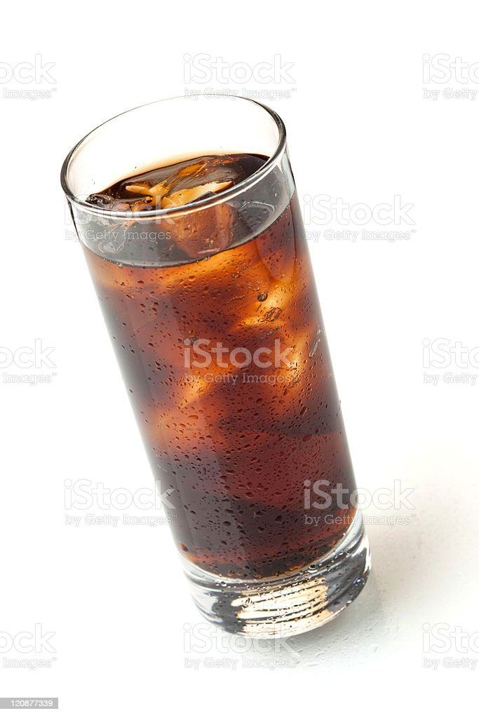 Cola in highball glass, above view stock photo