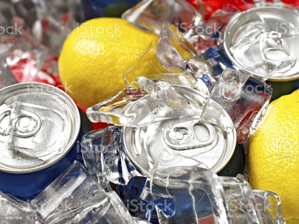 Cola on ice stock photo