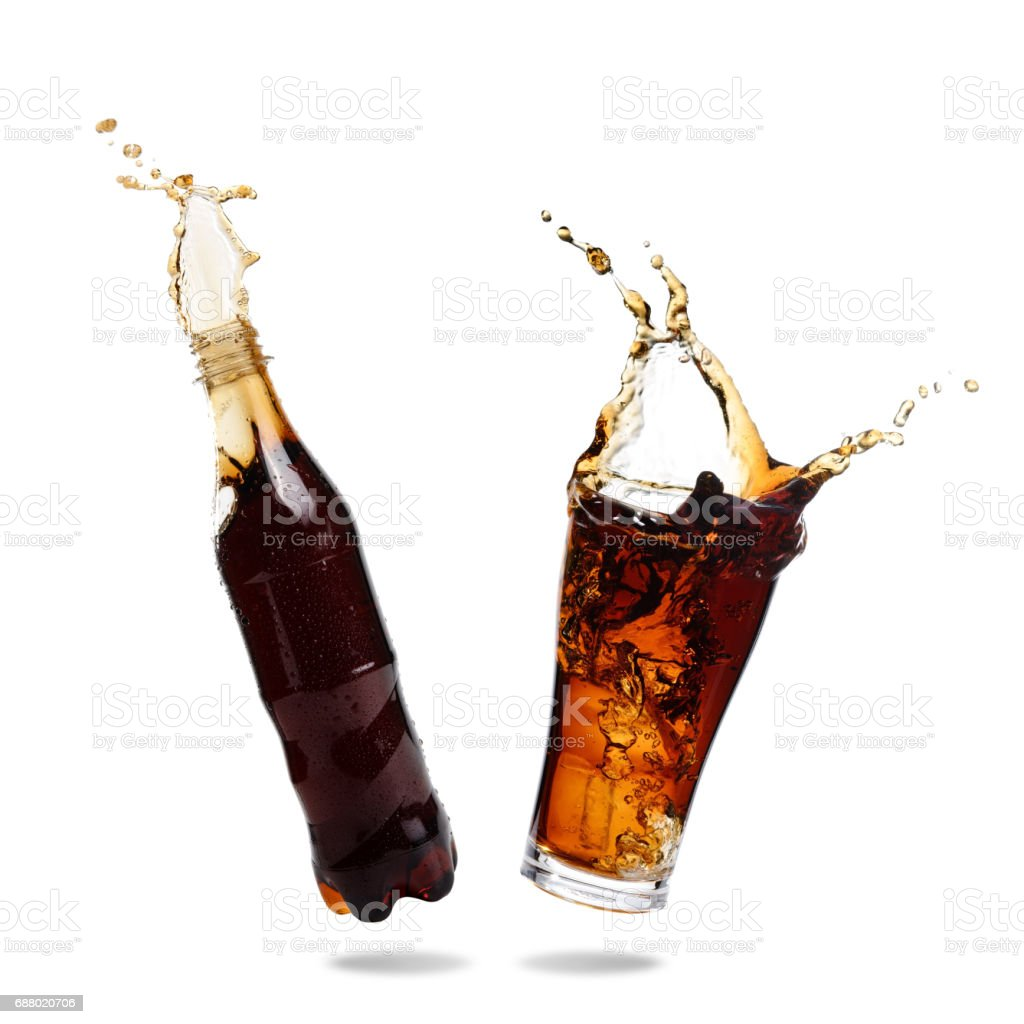 Cola splashing stock photo