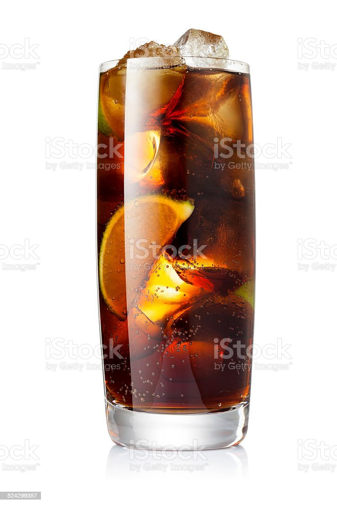 Cola with ice and lime stock photo