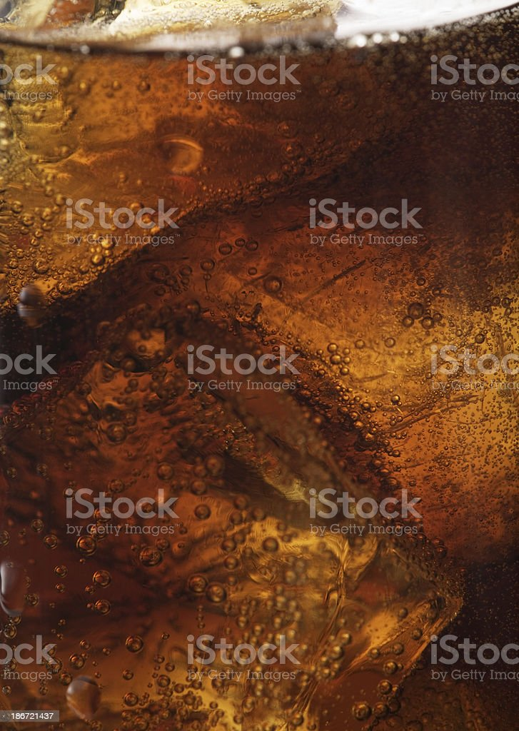 cola with ice cubes close up royalty-free stock photo