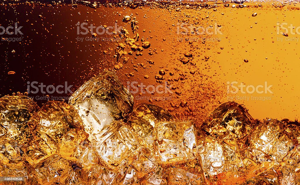 Cola with Ice. Food background stock photo