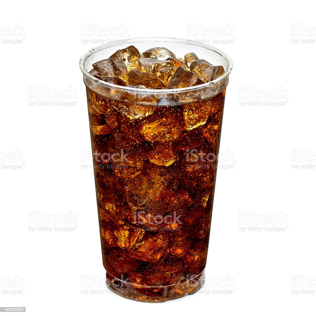 Cola with ice in takeaway cup stock photo