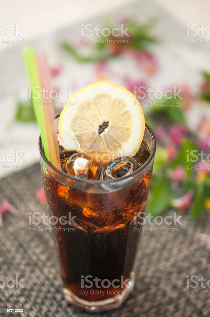 Cola with lemon royalty-free stock photo