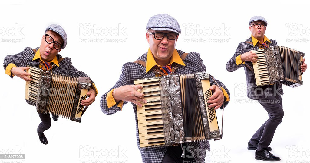 Colage of old male showman singer artist with music instruments stock photo