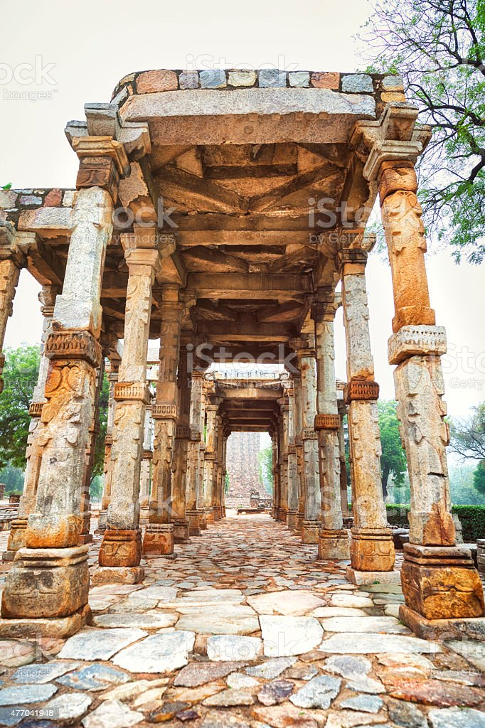 Colannade at the Court of Ala-ud-din in Qutb Complex, India stock photo