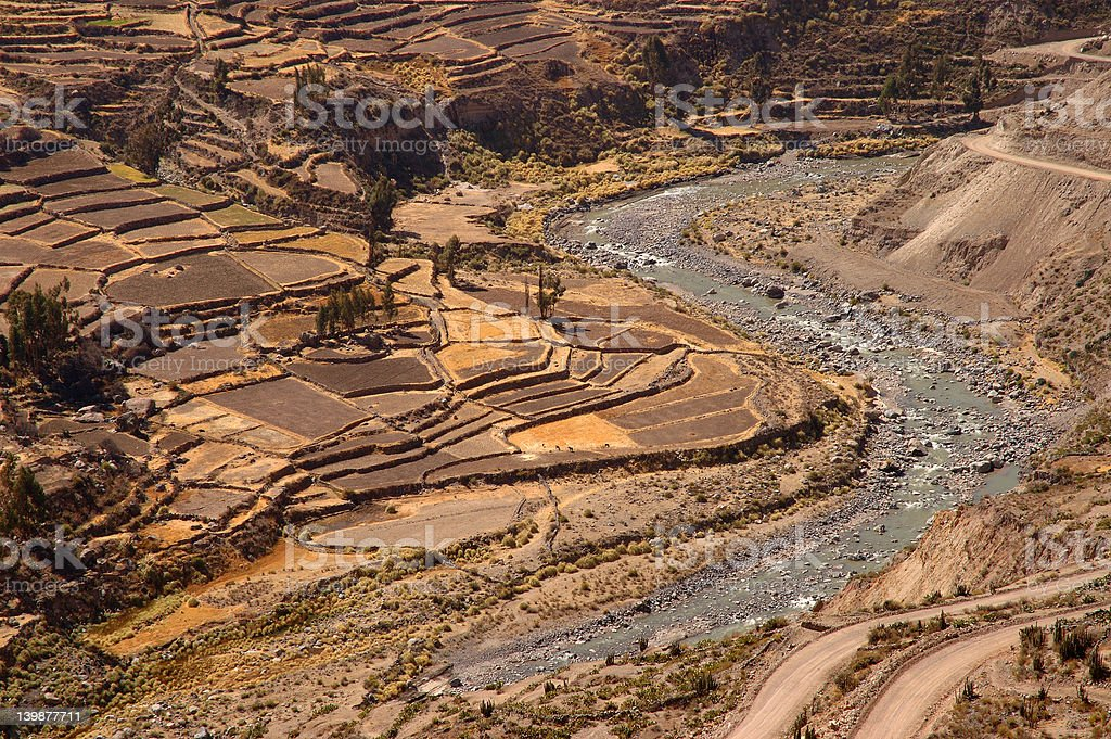 Colca Canyon Terraces with River royalty-free stock photo