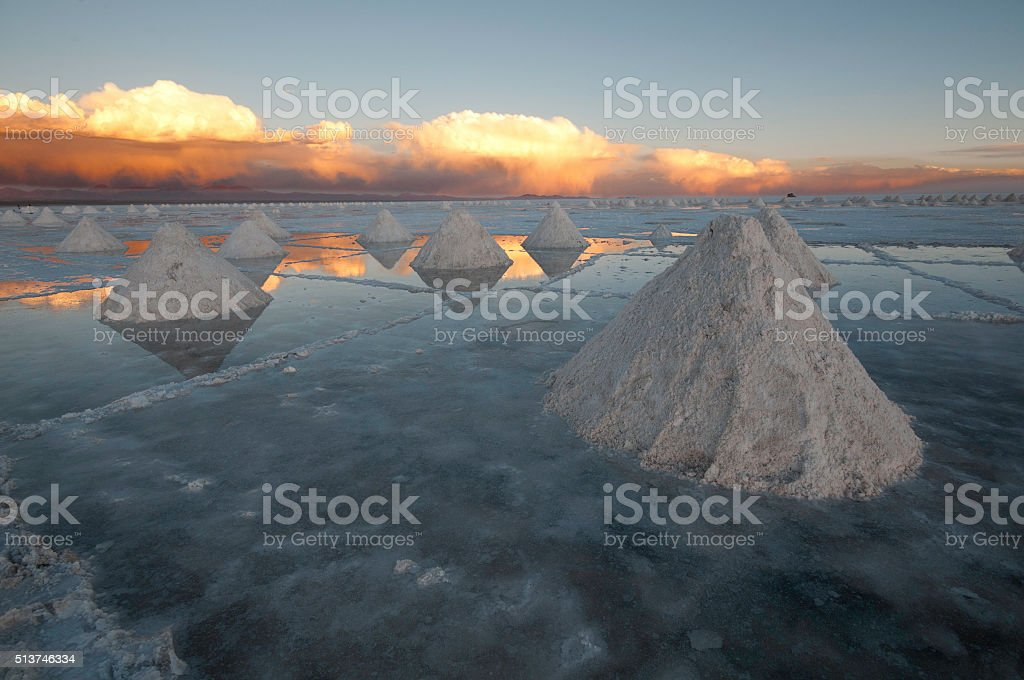 Colchani salt cones stock photo