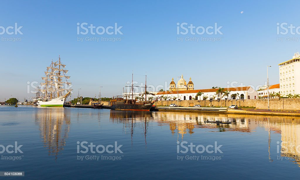 ColColombian Tall Ship and old pirate ship moored at port. stock photo
