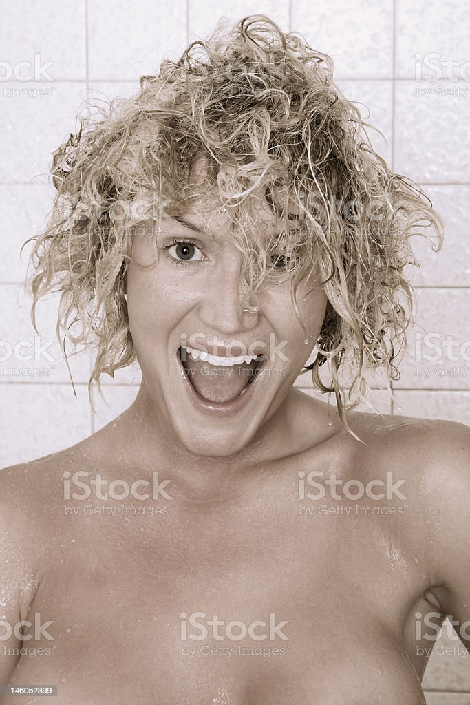 Cold after shower wet hair portrait (Toned image) royalty-free stock photo