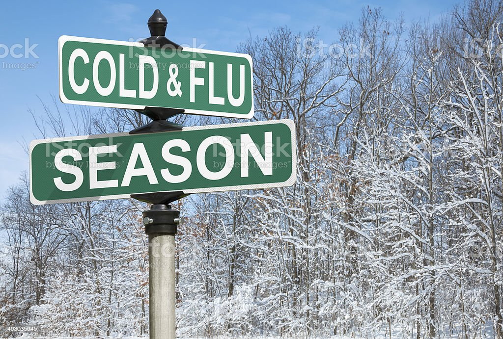 Cold and Flu Season Street Sign stock photo