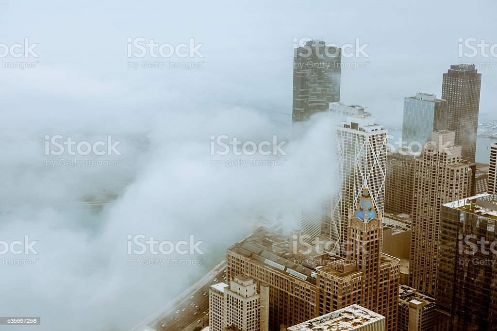 Cold and foggy day in Chicago stock photo