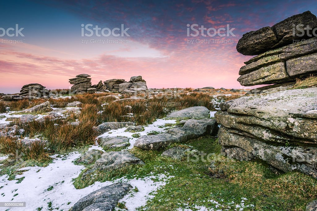 Cold and frosty morning in Dartmoor National Park, Devon, UK. stock photo