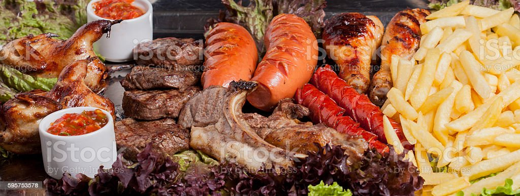 cold and hot meat set stock photo