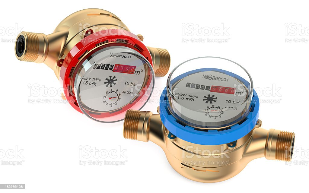 cold and hot water meters stock photo