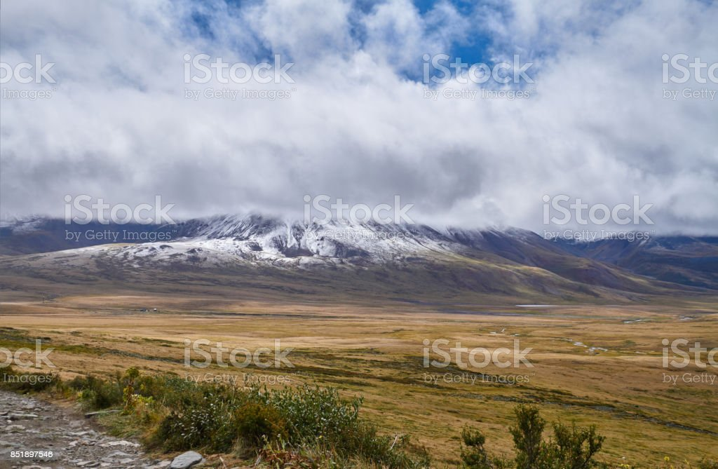 Cold autumn landscape in Siberia, the onset of winter. The Ukok Plateau Of Altai. Fabulous cold landscapes. Anyone around stock photo