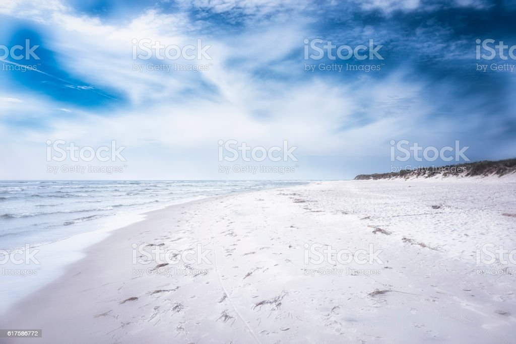 Cold beach at Swedish east coast stock photo